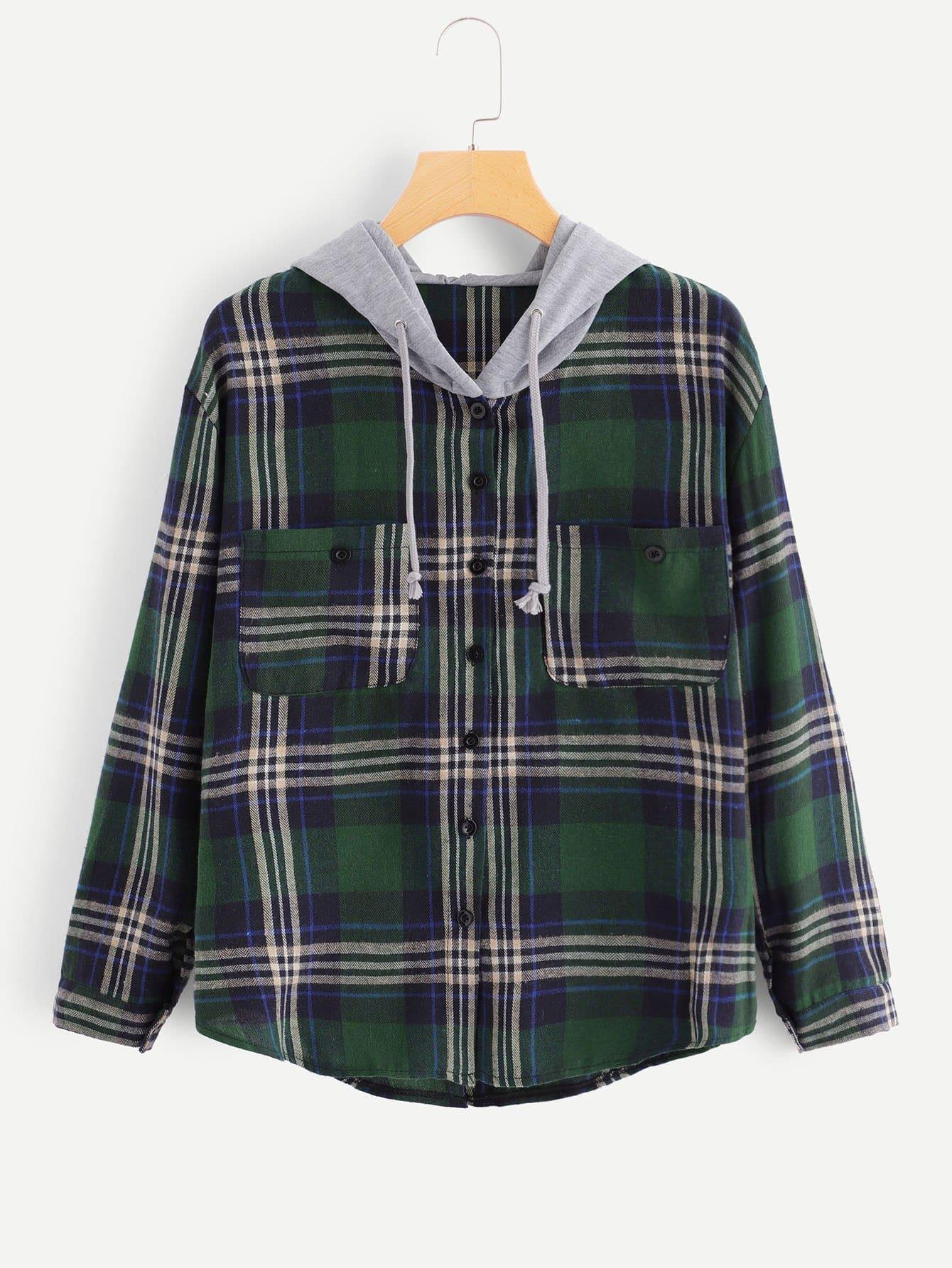 Купить Пуловер с капюшоном и грудь с украшением кармана и с украшением пуговицы перед одежды, null, SheIn