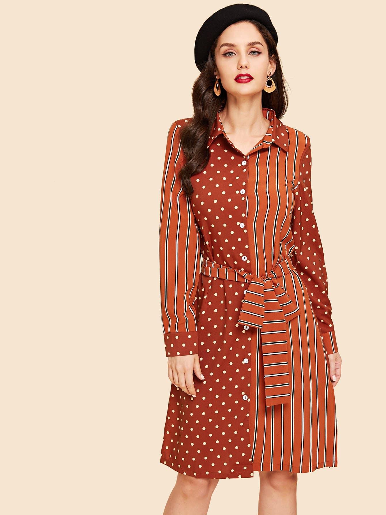 Купить Полосатое платье футболки с рисунками точк, Julie H., SheIn