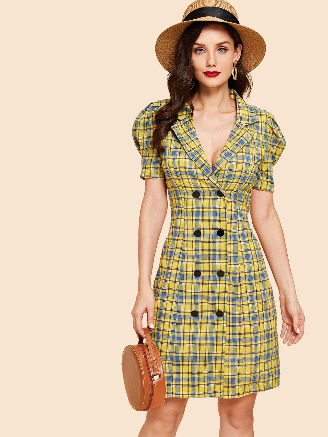 Double Button Collar Plaid Dress