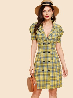 Double Button Collar Plaid Dress