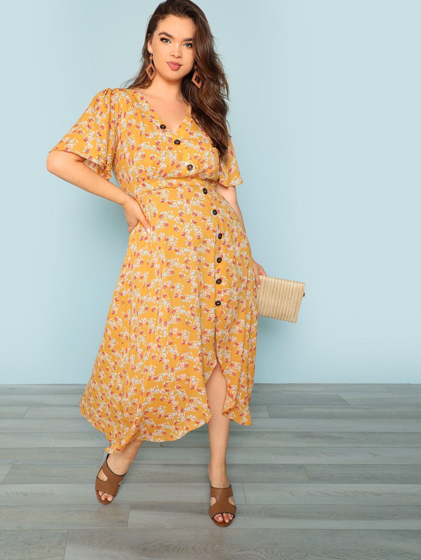 Купить Асимметричный пуговичный флоп-платье, Faith Bowman, SheIn