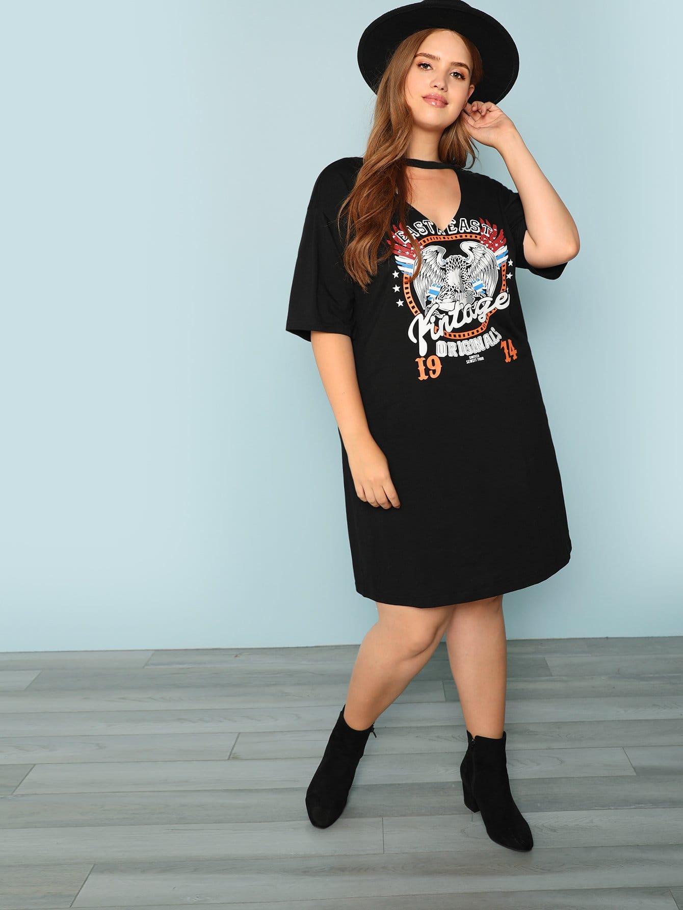 Купить Платье для печати с графикой V-образным вырезом Plus Choker, Bree Kish, SheIn