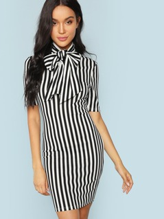 Bow Tie Neck Striped Pencil Dress