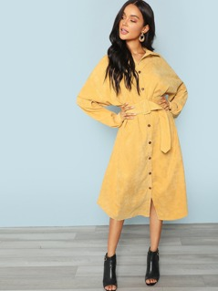 Pocket Side Adjustable Belted Shirt Dress