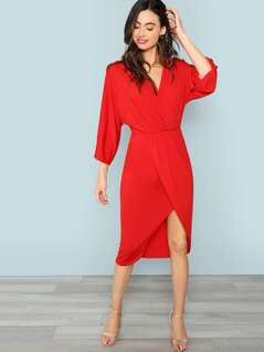 V Neck Asymmetrical Hem Wrap Dress