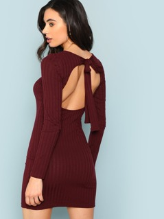Tied Open Back Ribbed Knit Dress