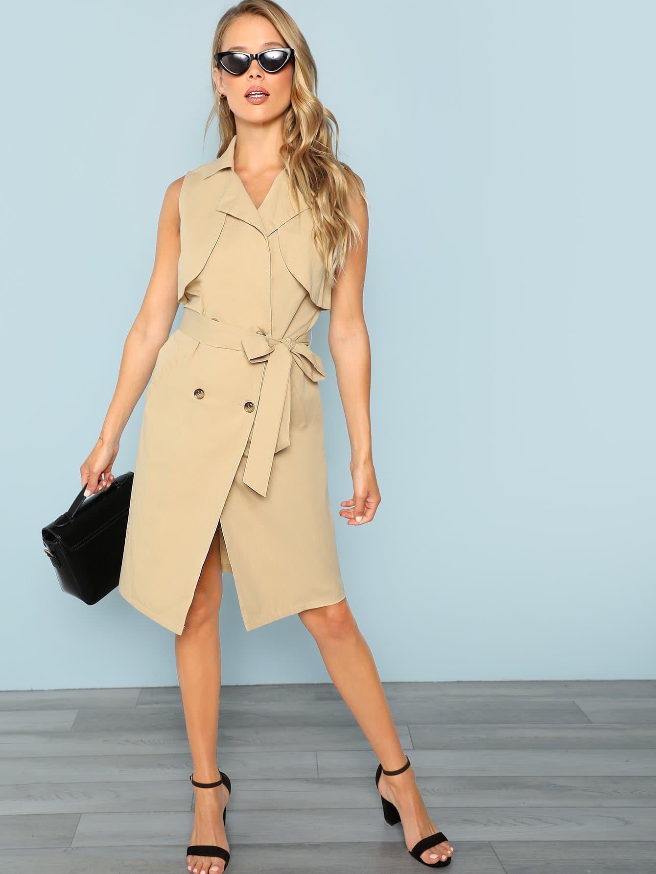 Платье Trench и с поясом и с отбортовками перед одежды, Allie Leggett, SheIn  - купить со скидкой
