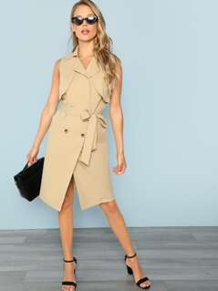 Flap Front Belted Trench Utility Dress