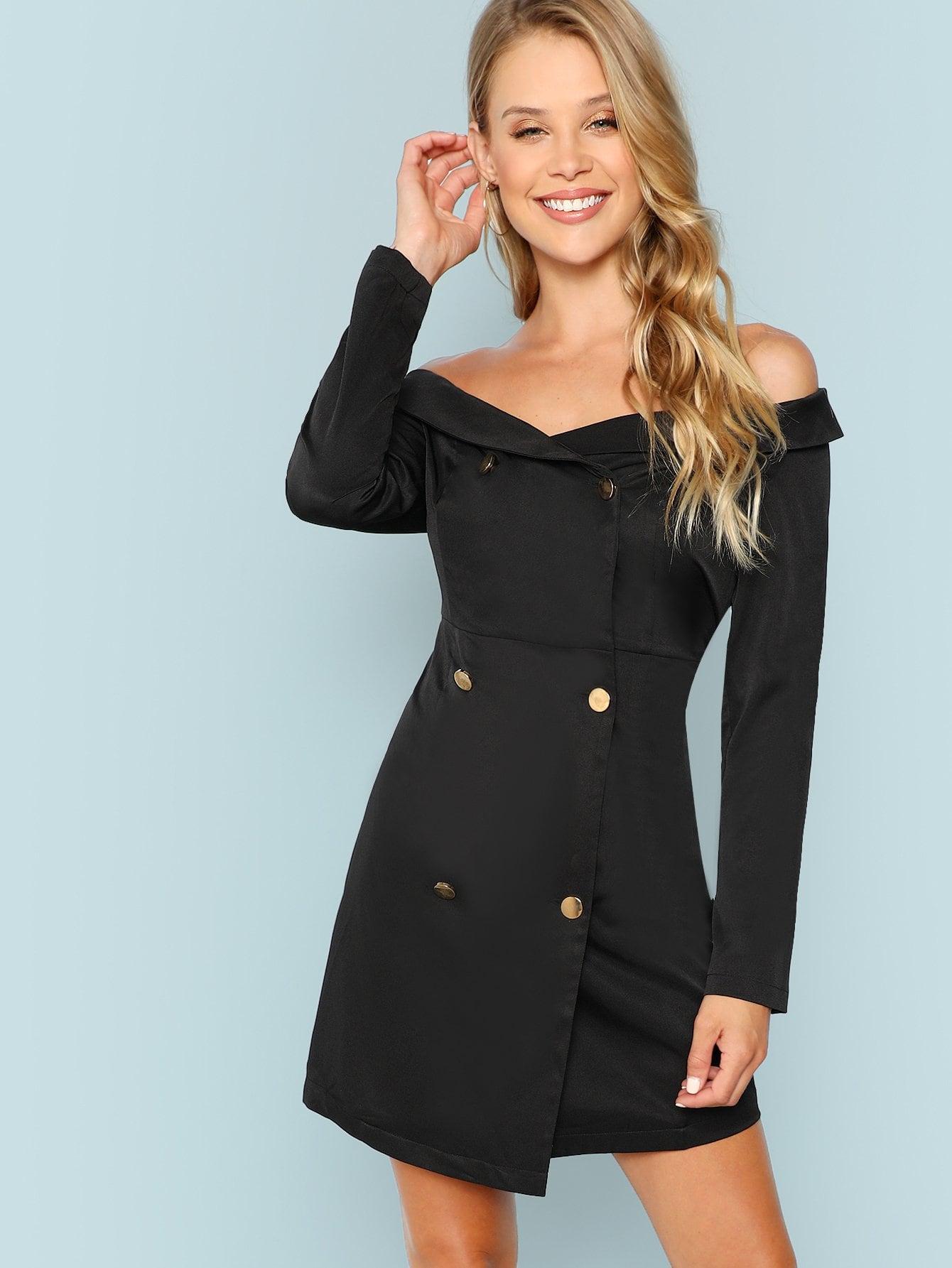 Купить Bardot Двубортное платье и с воротником, Allie Leggett, SheIn