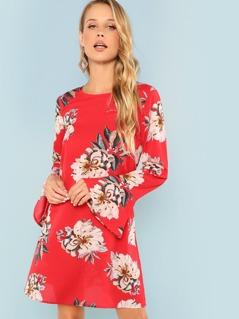 Bell Cuff Floral Dress