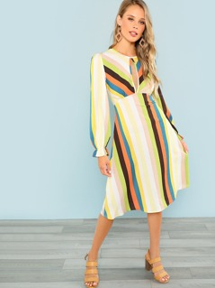 Ruffle Cuff Striped Dress