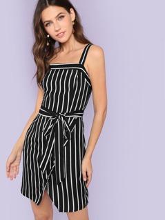 Buttoned Wrap Hem Belted Pinstripe Dress