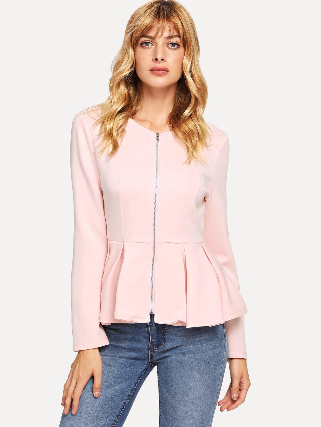 Zip Up Box Плиссированная куртка Peplum, Masha, SheIn  - купить со скидкой
