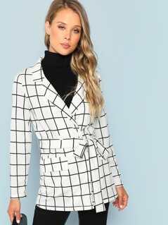 Self Belted Grid Print Notched Coat