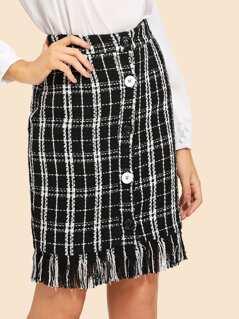 Fringe Hem Button Up Plaid Tweed Skirt