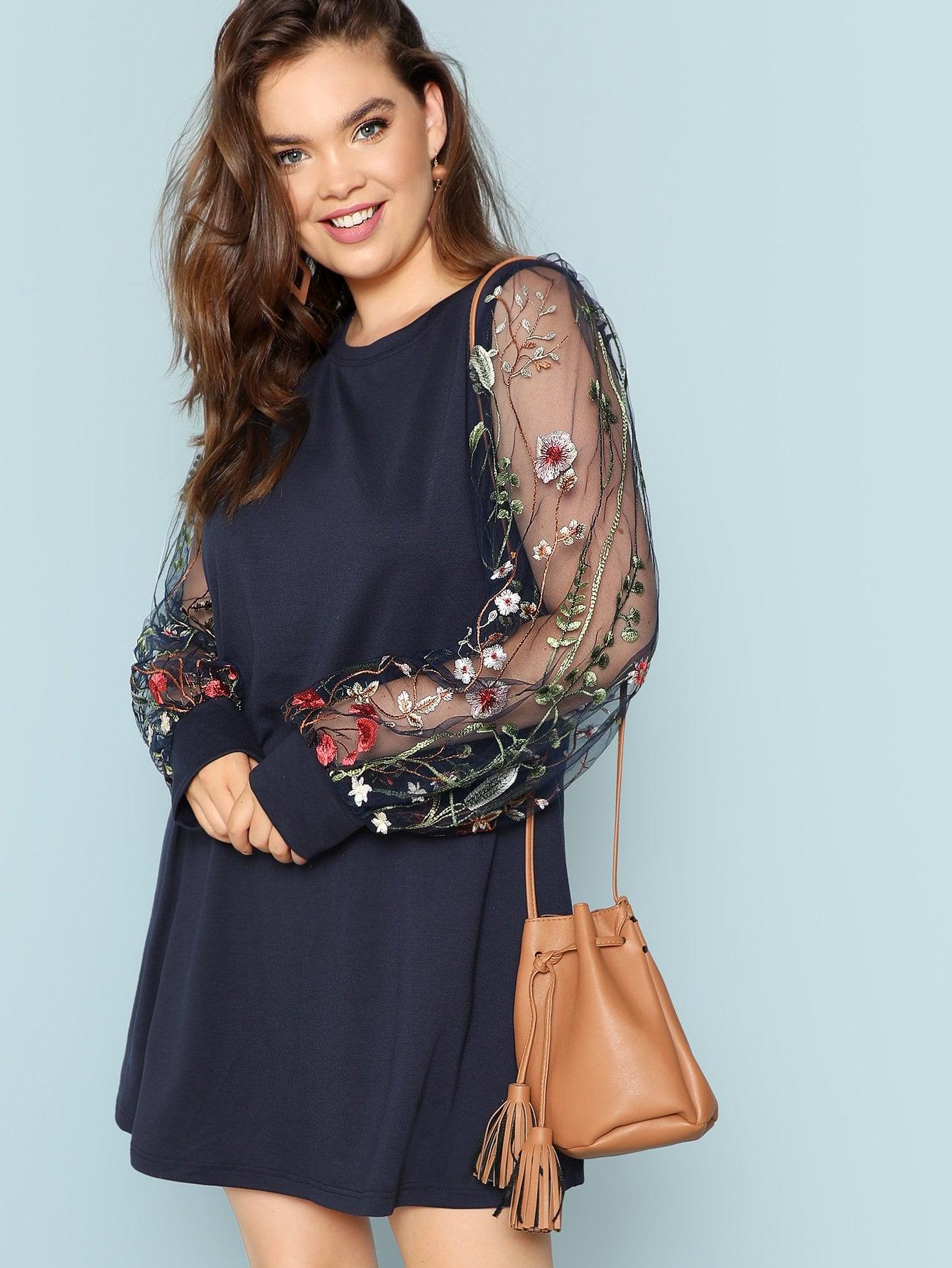 Купить Контраст Цветочная вышивка Mesh Sleeve Longline Толстовка, Bree Kish, SheIn