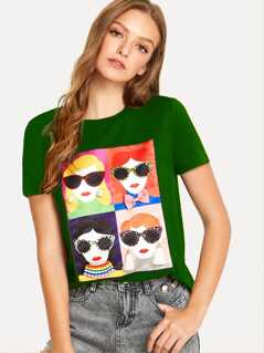 Mixed Applique Cartoon Print Tee