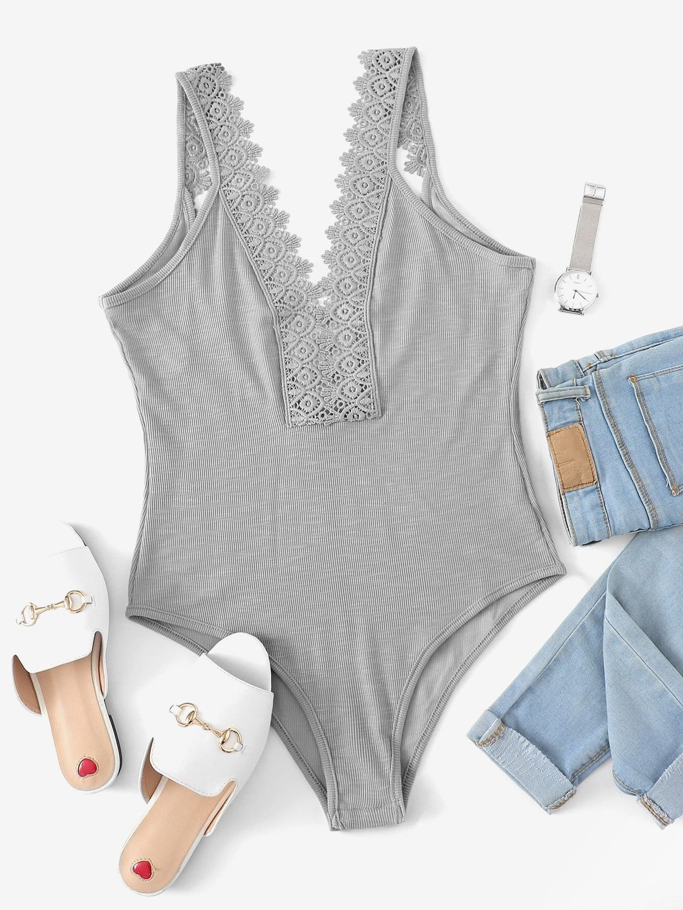 Кружева Контраст Solid Skinny Bodysuit