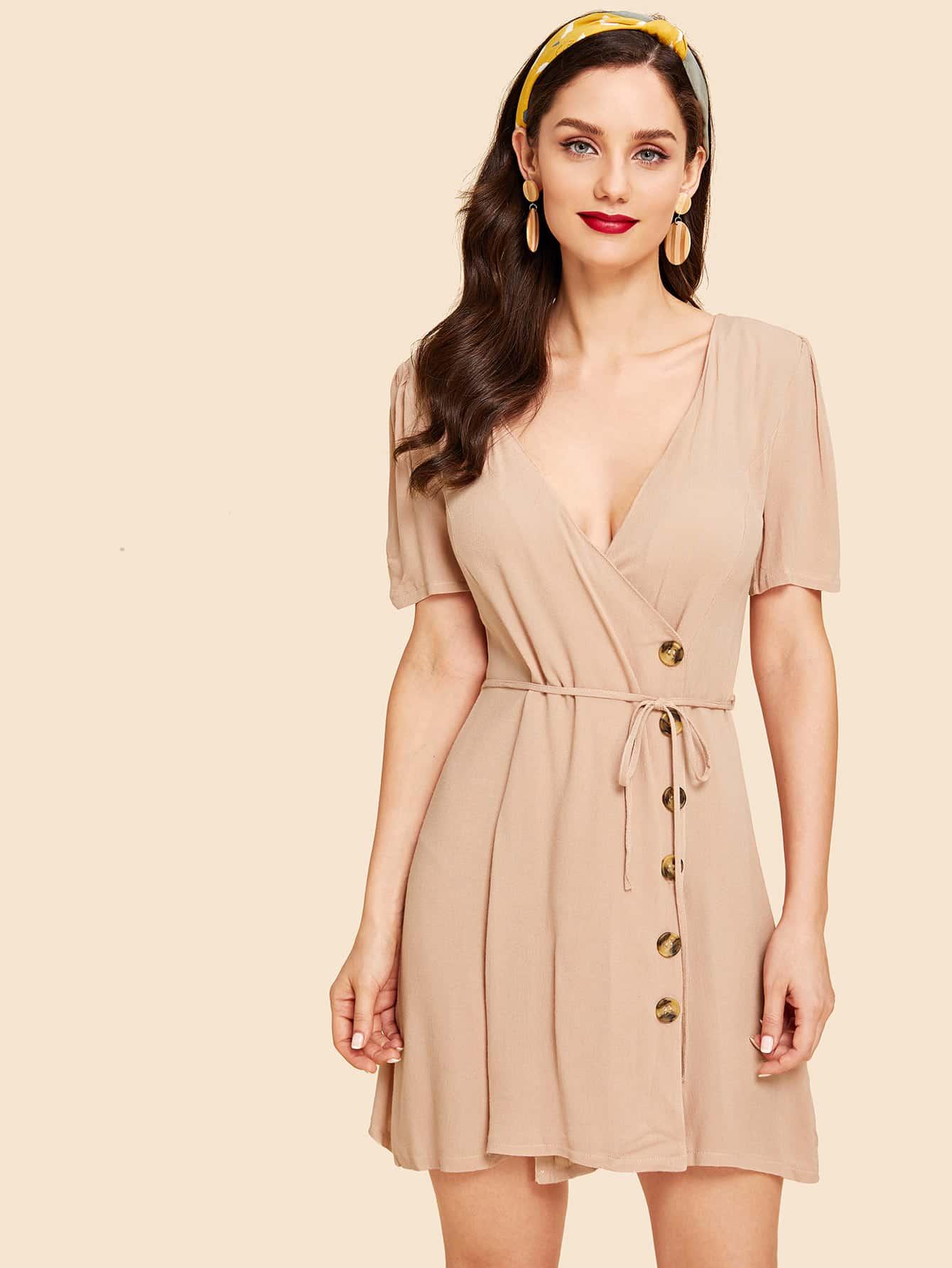 Купить Платье с пуговицами и запахом, Julie H., SheIn