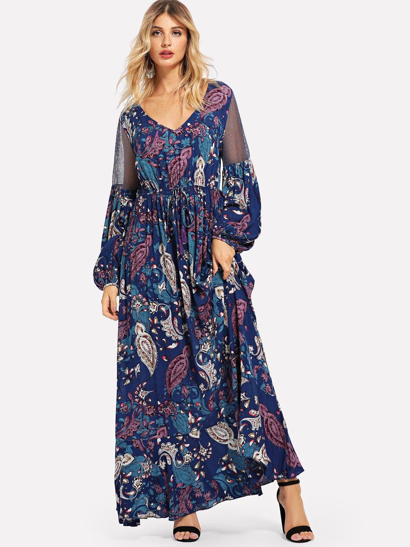 Купить Сетка вставки Фонарь втулки Пейсли платье, Nathane, SheIn