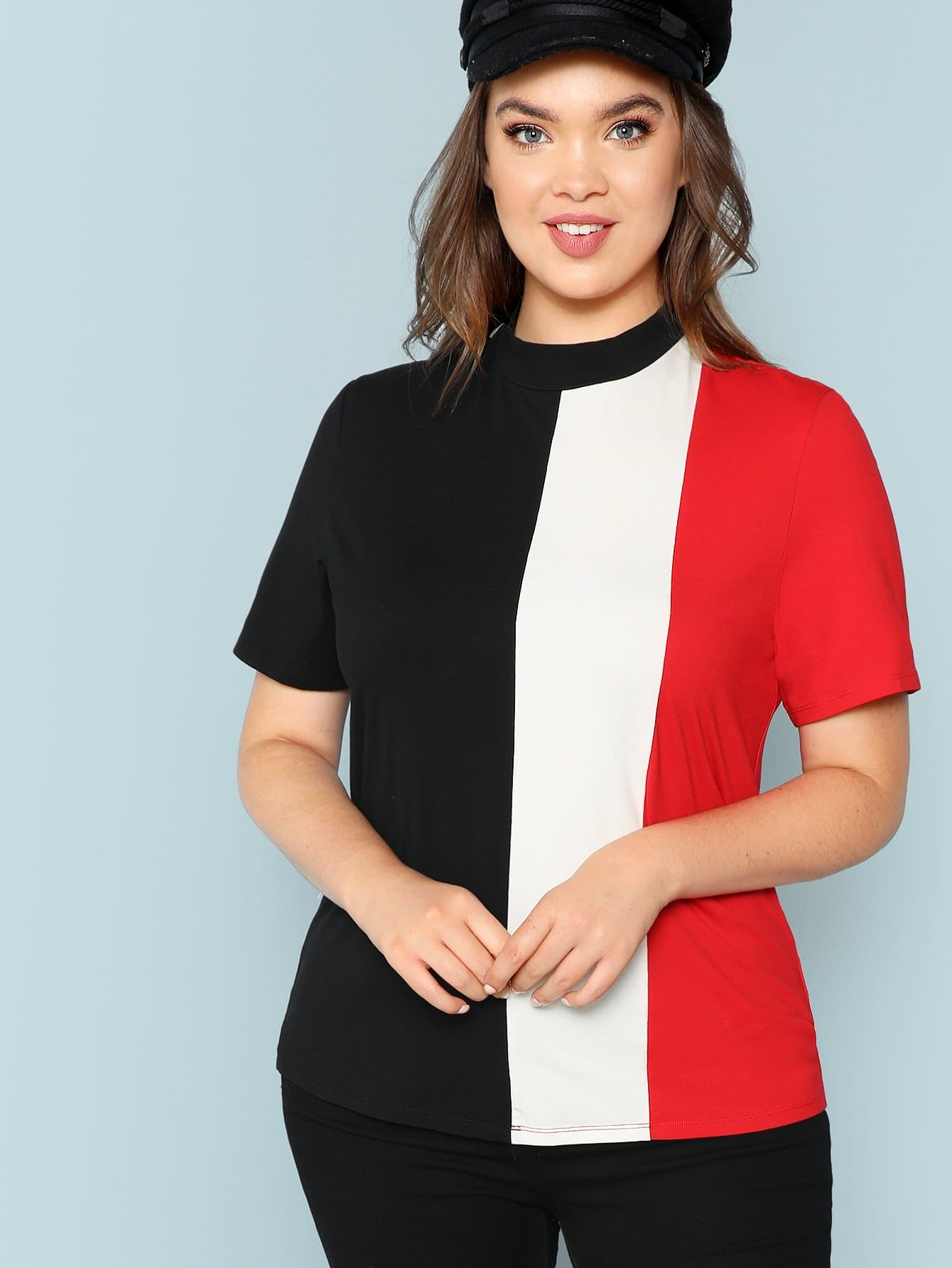 Mock Neck Color Block футболка
