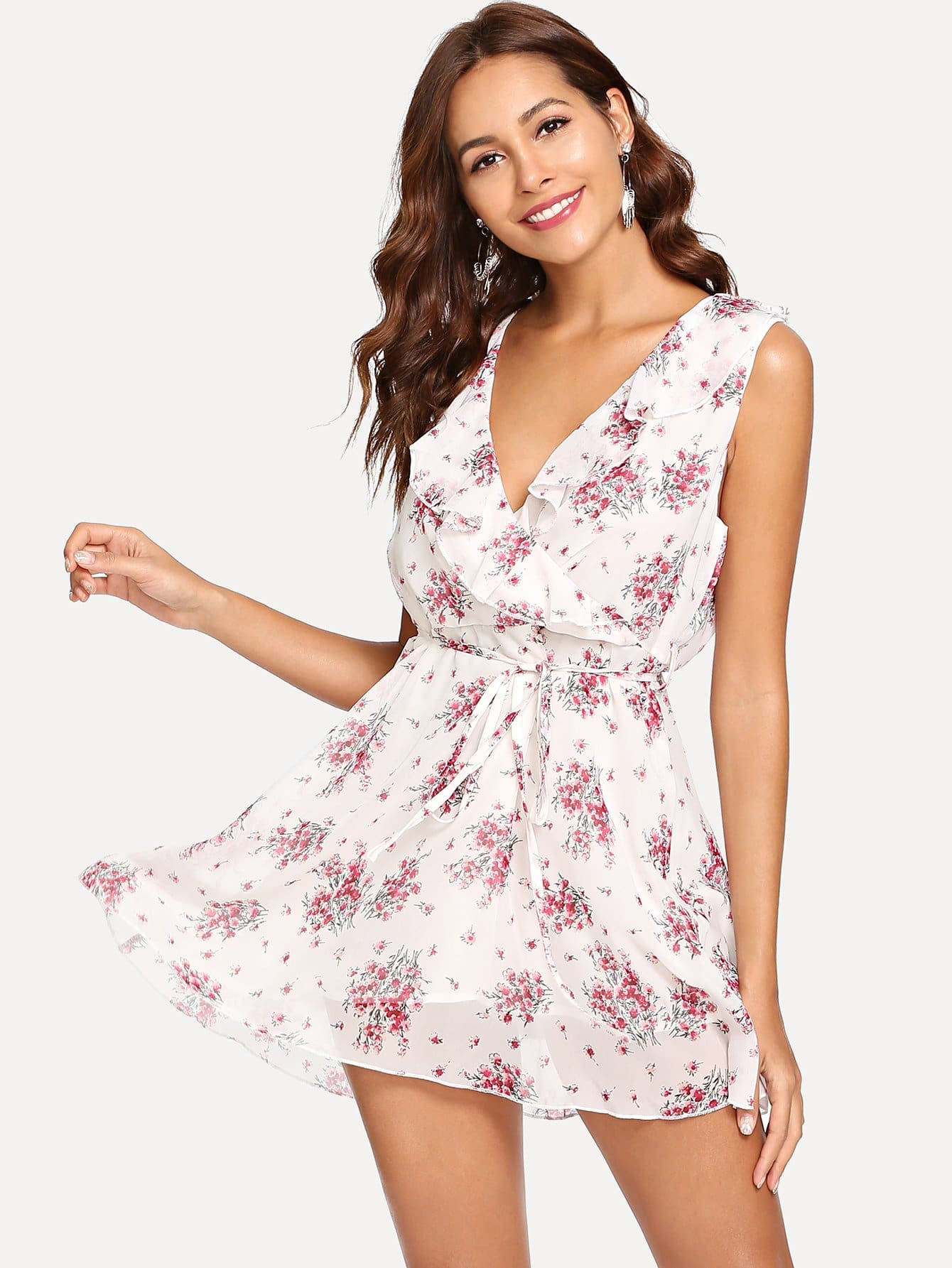 Купить Daisy Print Ruffle Trim Dress, Giulia, SheIn