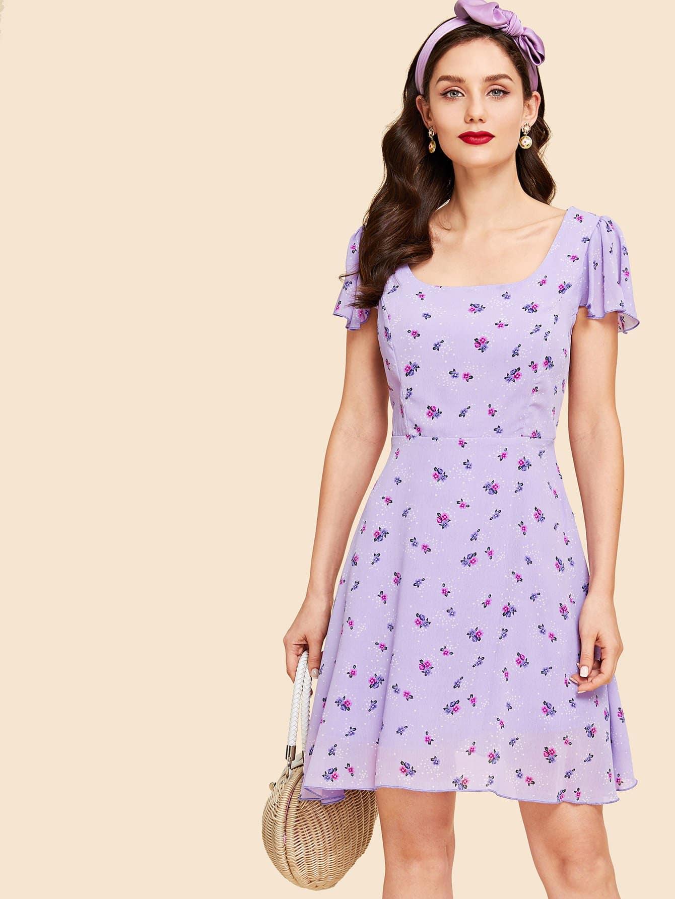 Купить Платье с рукавами из цветочного флаттера, Julie H., SheIn