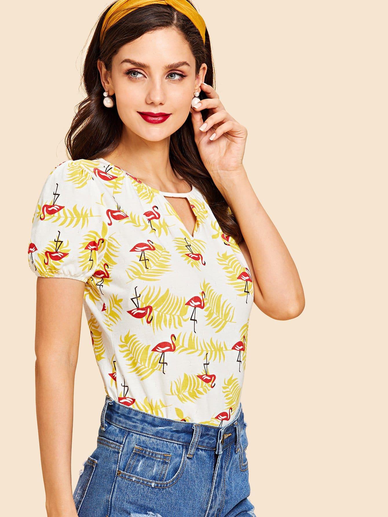 Купить Смешанная ситцевая футболка и воротник с замочной скважиной, Julie H., SheIn