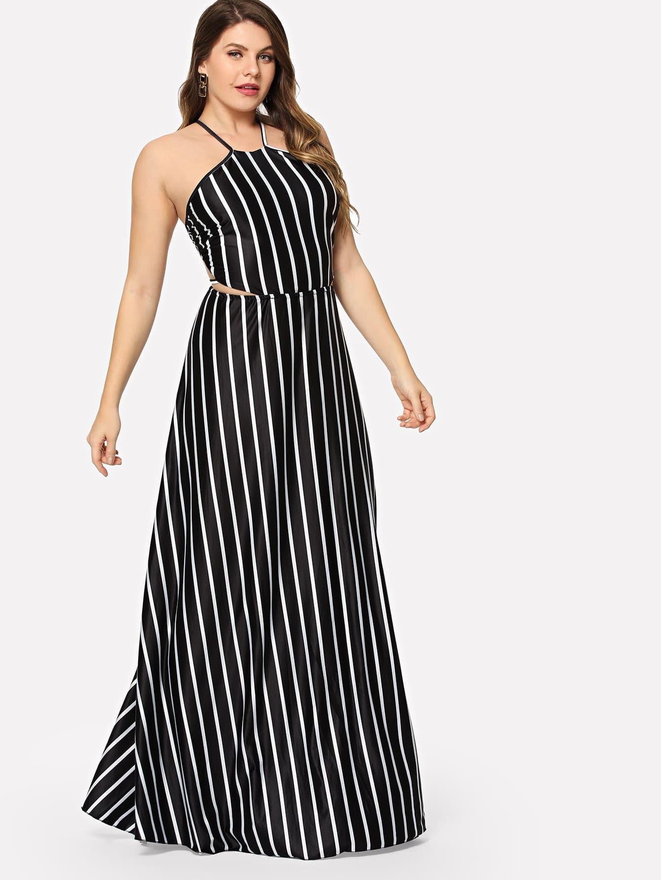 Платье для выпускного платья Halter Neck Striped