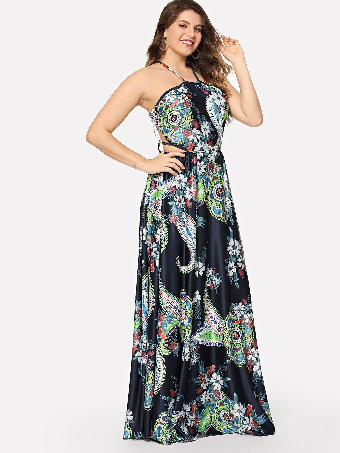 Plus Cutout Halter Neck Floral Dress halter cutout plunge neck monokini