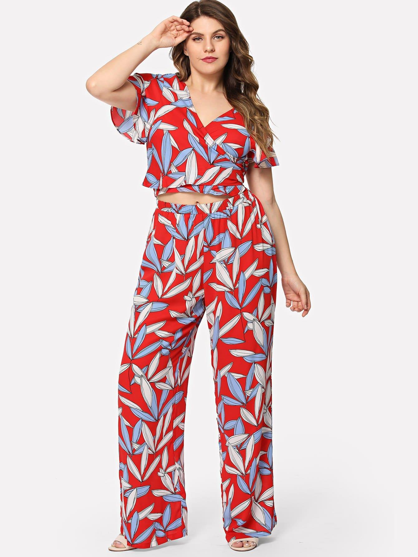 Купить Цветочный принт с завязкой для верха и широкими ногами, Isabela, SheIn