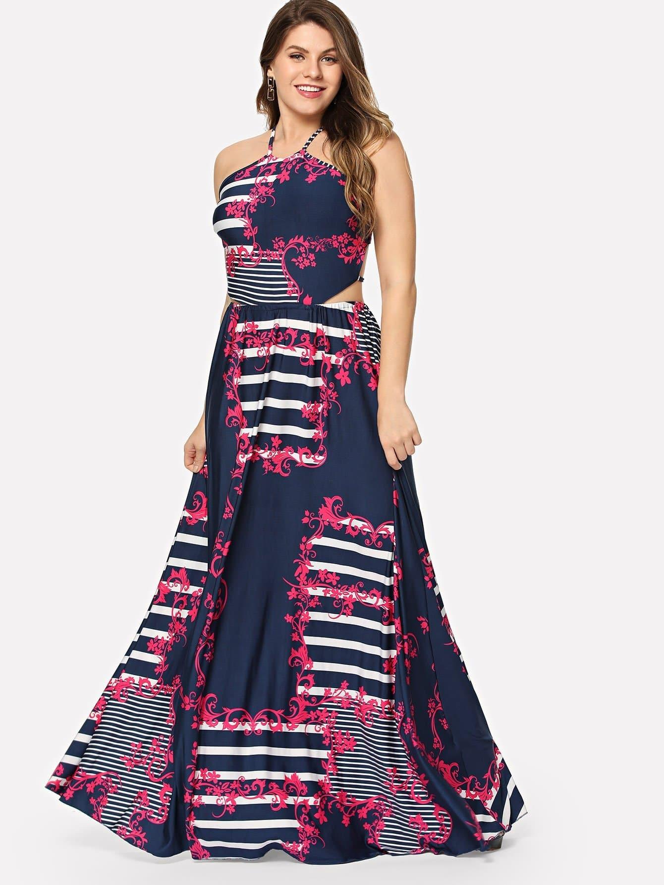 Купить Изысканная печать Halter Dress, Isabela, SheIn