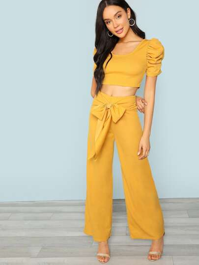 SheIn / Puff Sleeve Top & Tie Waist Wide Leg Pants Set