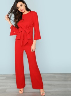 Belted Top & Wide Leg Pants Co-Ord