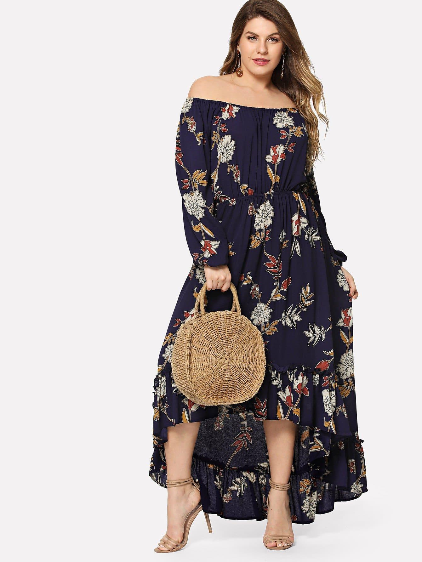 Купить Плюс с плечом Ruffle Hem Floral Dress, Isabela, SheIn
