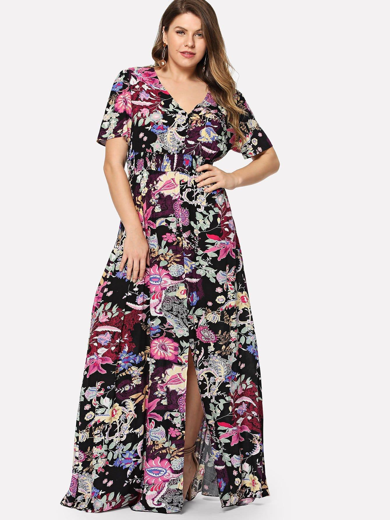 Купить Плюс Slit Button Up Переднее цветочное платье, Isabela, SheIn