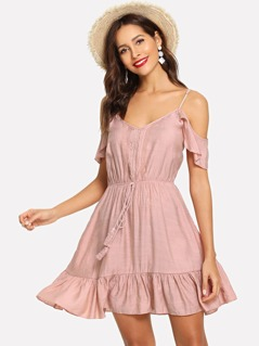Cold Shoulder Tassel Tied Ruffle Dress