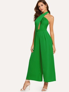Open Back Crisscross Halted Solid Jumpsuit
