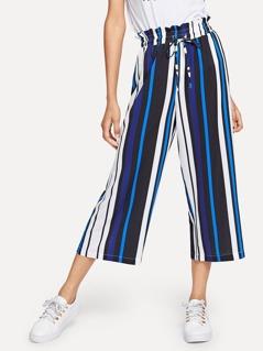 Frill Waist Striped Wide Leg Pants