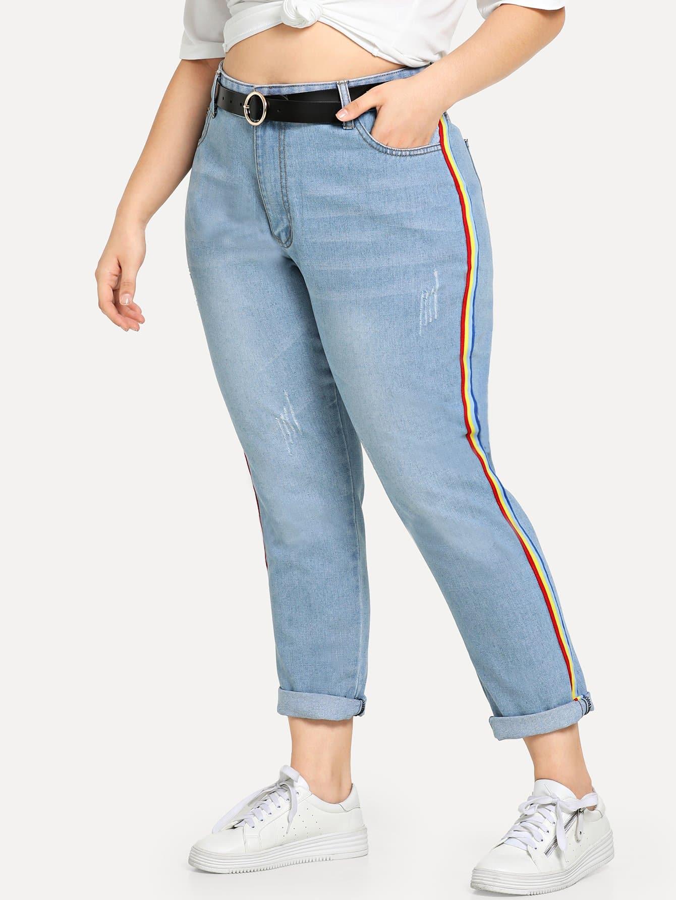 Купить Большие радужные джинсы с полосатыми лентами по обе стороны, Carol, SheIn