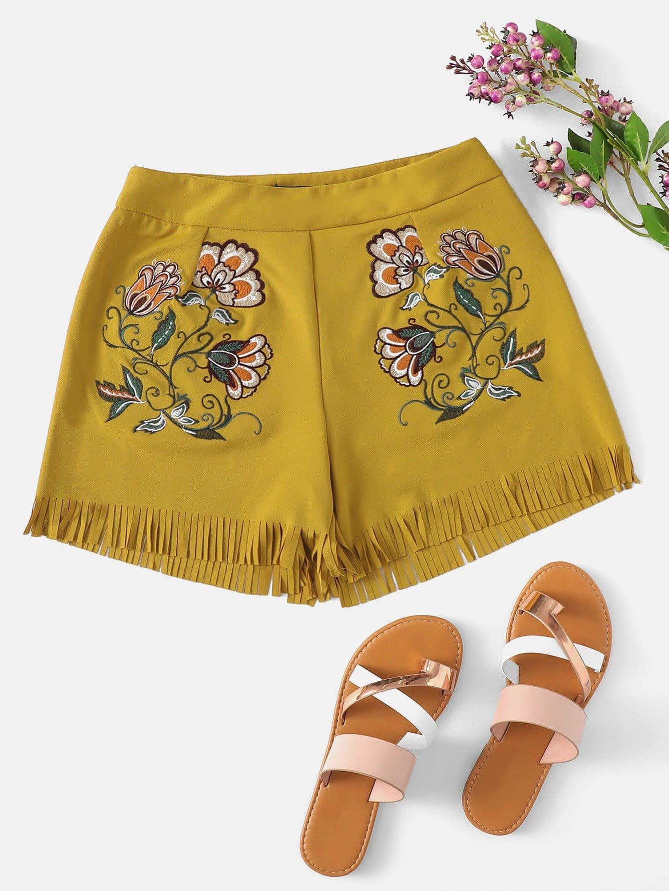 Fringe Flower Print Shorts