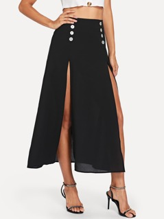 M-Slit Buttoned Front Skirt