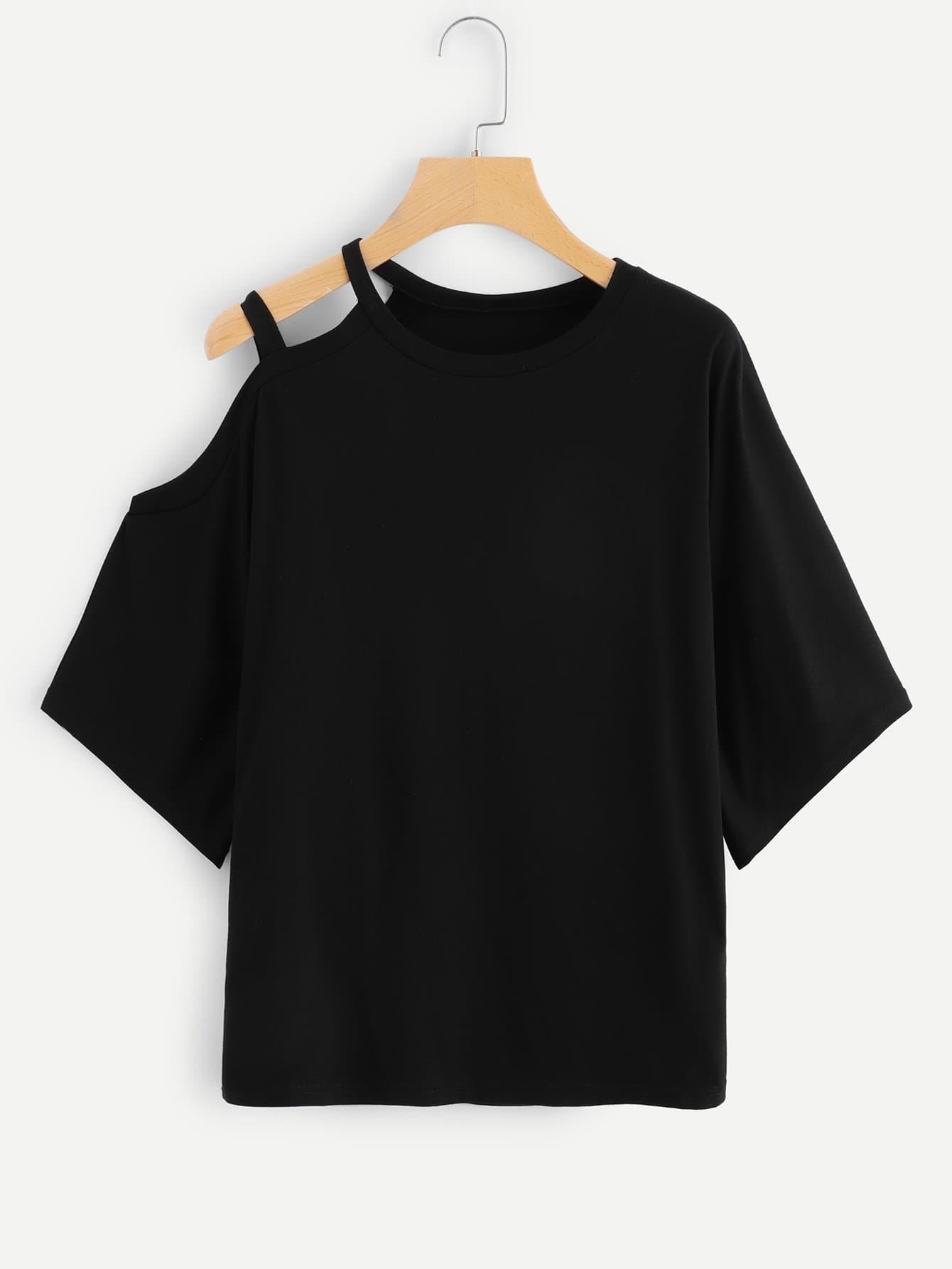 Купить Однотонная футболка с одним плечом и вырезами, null, SheIn