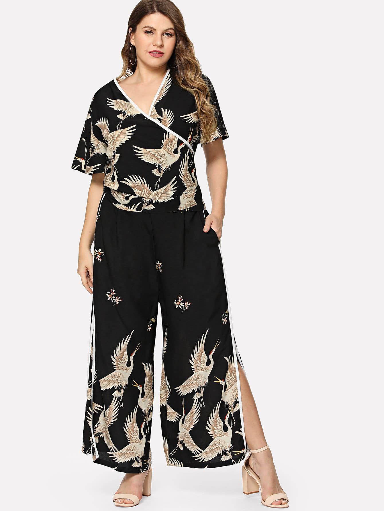 Купить Контраст Binding Wrap Top & Широкие штаны для ног, Isabela, SheIn