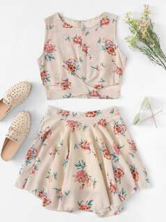 Floral Print Cross Wrap Front Top and Skirt Set