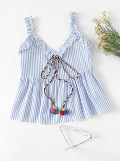 Pompom Knot Frill Detail Striped Shell Top