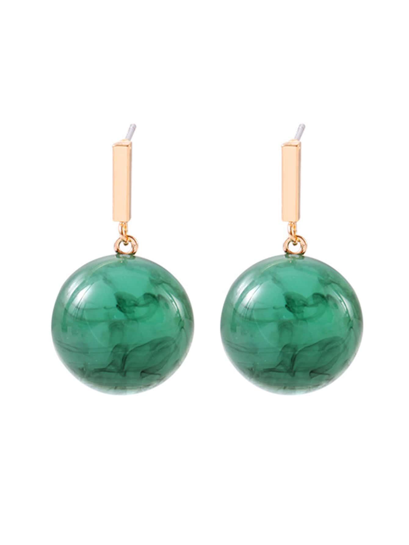 Half Ball & Bar Drop Earrings