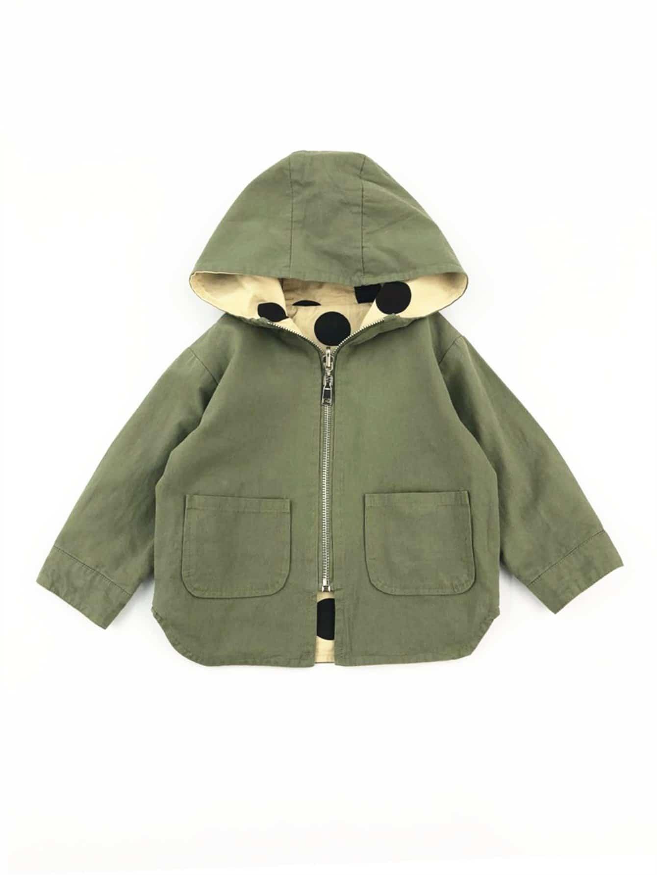 Girls Pocket Detail Hooded Outerwear