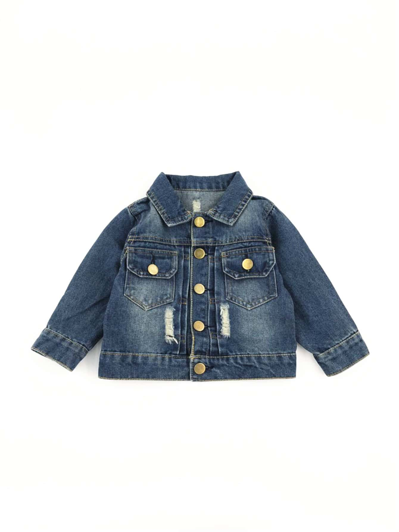 Boys Button Detail Ripped Jacket