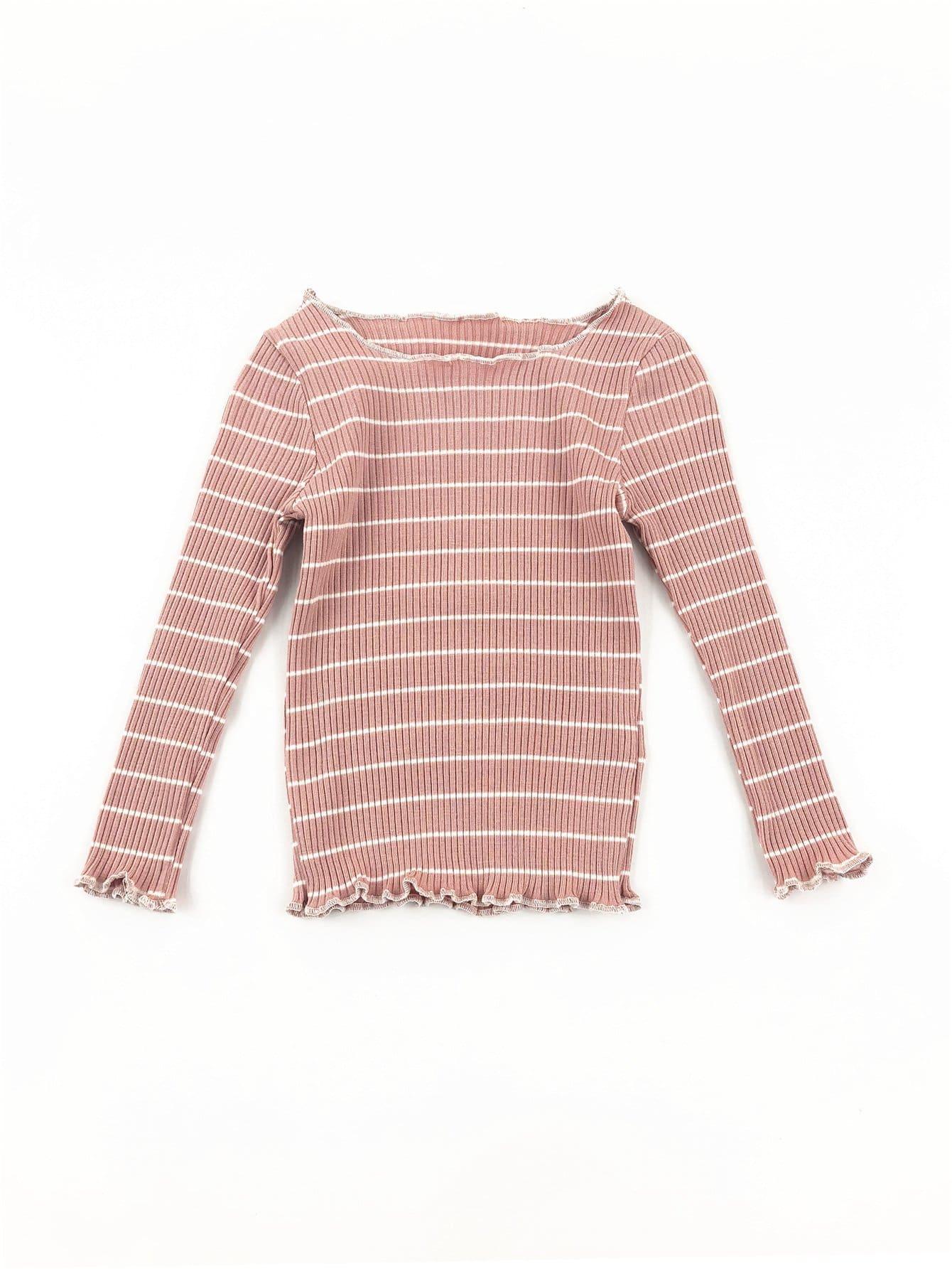 Girls Lettuce Edge Trim Striped Sweater